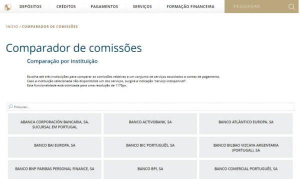 O Comparador de Comissões do Banco de Portugal é uma ferramenta que permite comparar de forma simples e rápida as comissões relativas a serviços associados a contas de pagamento, sejam os custos com a manutenção de conta, sejam as anuidades de cartões de débito e de crédito, as comissões de levantamento de numerário, de aquisição de cheques e de transferências interbancárias. A ferramenta está disponível desde o dia 1 deste mês de Outubro e permite aos consumidores comparem os custos para os diferentes serviços bancários da banca que opera em Portugal. É possível comparar por instituição ou por serviço, as comissões máximas que são praticadas pelas instituições em função do respectivo canal de comercialização. Lembre-se que estas comissões apresentadas por cada instituição financeira são livremente estabelecidas pelas mesmas, embora na observância dos limites e das condições impostas por lei e pelo próprio regulador. Actualmente, o Comparador de Comissões permite comparar 93 comissões bancárias praticadas por cerca de 200 instituições. Este comparador poderá ter chegado tarde para o cliente bancário nacional que pode agora contar com um efectivo mecanismo de comparação que determine as suas decisões de poupança e escolha de um parceiro bancário, mas supostamente chegou cedo para pelo menos três instituições financeiras, que pediram o adiamento do lançamento do comparador de comissões bancárias do Banco de Portugal, alegando 'o elevado esforço que estas adaptações exigem aos seus clientes'. Para além do habitual crash motivado pela imensidão de acessos nos primeiros momentos do seu lançamento, podemos observar que a interacção com o comparador não é a melhor. Não é permitido seleccionar apenas um subconjunto de comissões e também já deu para perceber que muitas vezes se comparam 'alhos' com 'bugalhos', por exemplo, ao apresentar lado-a-lado as comissões de cartões de crédito cujas características são completamente distintas. Pior, não é possível obter os bancos com m