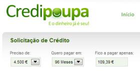 Simulador de crédito pessoal da Credipoupa